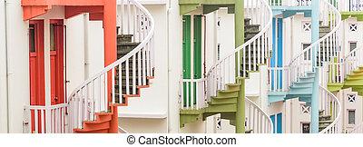 パノラマである, 店, 伝統的である, シンガポール, 階段, らせん状に動きなさい, 家, 虹