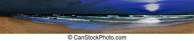 パノラマである, 浜, 夜