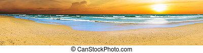 パノラマである, 浜, 日没
