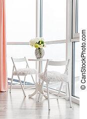 パノラマである, 窓, カフェ, ビュー。, テーブル