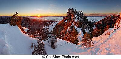 パノラマである, 風景, スロバキア, 冬, 山