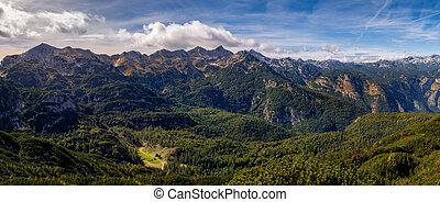 パノラマである, 風景, 山地, 光景, コテッジ, 湖, 距離, スロベニア, bohinj