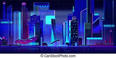 パノラマである, time., 夜, 都市の景観, 未来派, 光景