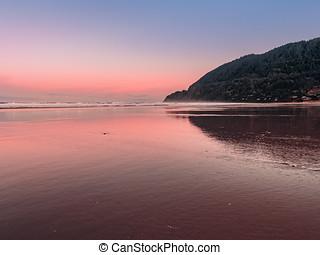 パノラマの光景, の, manzanita, 浜, そして, neahkahnie, ポイント, 中に, オレゴン