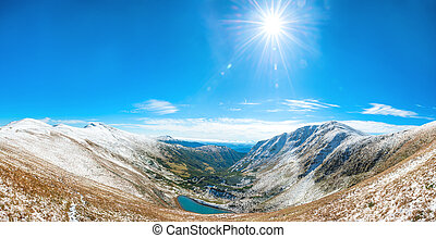 パノラマ, の, 白い 山