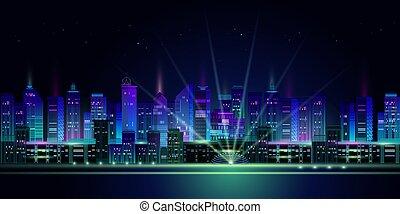 パノラマ, ネオン, バックグラウンド。, 夜, 白熱, 都市, 暗い, vector.
