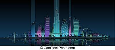 パノラマ, ネオン, illustration., 現代, water., ダウンタウンに, 反映された, 夜, 都市, 都市の景観, 都市, 熱烈なライト, スカイライン, park., オフィス, 超高層ビル, 建物, 未来派