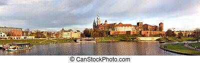 パノラマ, ポーランド, krakow, wawel, 城