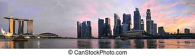 パノラマ, 上に, 日没, スカイライン, シンガポール
