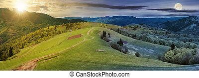 パノラマ, 変化しなさい, の上, 時間, 田舎