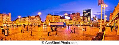パノラマ, 夕方, 広場, 中央である, ザグレブ
