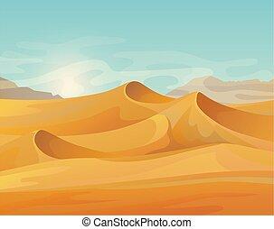 パノラマ, 屋外, 砂漠の 景色