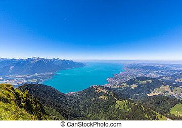 パノラマ, 湖 ジュネーブ, rochers-de-naye, 光景