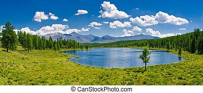 パノラマ, 湖, ロシア, altai