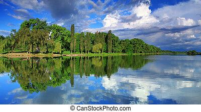パノラマ, 空, 反射, 曇り, 湖