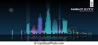 パノラマ, 都市, ダウンタウンに, 現代, 未来派, 都市の景観, 都市, water., 建物, illustration., スカイライン, 夜 ライト, park., 超高層ビル, オフィス, ネオン, 白熱, 反映された