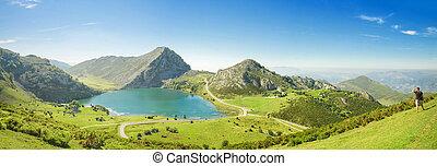 パノラマ, de, enol, 湖, europa, picos, asturias, スペイン