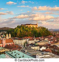 パノラマ, europe., ljubljana, スロベニア