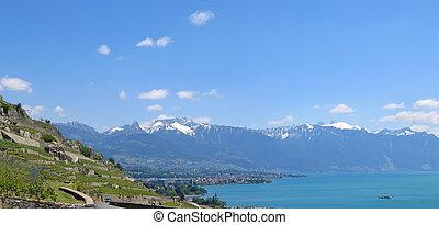 パノラマ, leman, 湖, スイス, 光景