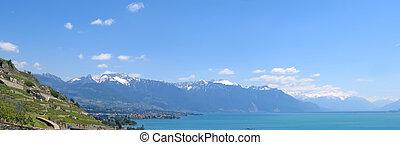 パノラマ, leman, 湖, 大きい, スイス, 光景