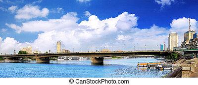 パノラマ, river., カイロ, ナイル, 海岸通り
