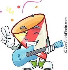 パフォーマンス, 極度, 涼しい, 特徴, ギター, 漫画, 爆発する, 紙ふぶき
