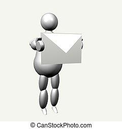 パペット, 封筒, 3d
