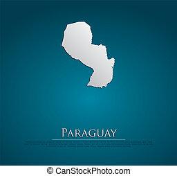 パラグアイ, 地図, ベクトル, 紙カード