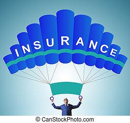 パラシュート, ビジネスマン, 概念, 保険