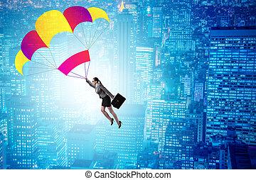 パラシュート, 女性実業家, 概念, ビジネス, 飛行