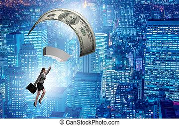 パラシュート, 女性実業家, 概念, 金