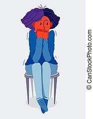 パラノイア, emotions., 心配, 問題, 他, 心理上である, 概念, イラスト, ベクトル, 恐怖症, 心地悪い, ひどく, 感じ, psychical, おびえさせている, ∥あるいは∥, 女, 若い