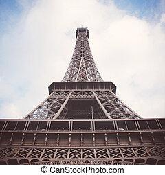パリ, エッフェル, 効果, フィルター, レトロ, タワー