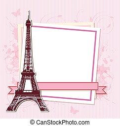 パリ, タワー, エッフェル, フレーム, 白