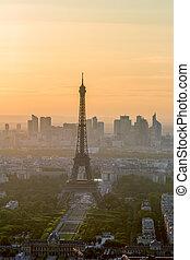 パリ, タワー, エッフェル, 日没, 光景