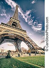 パリ, タワー, エッフェル, bottom-up, 光景