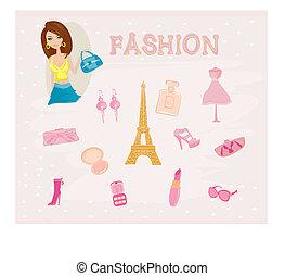 パリ, ファッション, セット