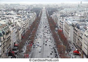 パリ, フェリス, チャンピオンelysees, de, triomphe, フランス, 弧, パノラマ, 車輪, ...