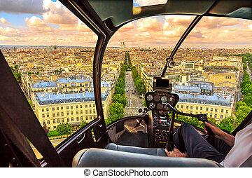 パリ, ヘリコプター, 都市