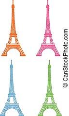 パリ, ベクトル, セット, イラスト
