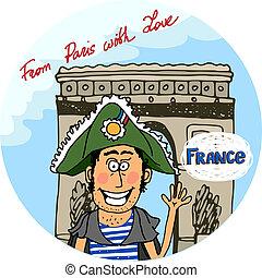 パリ, ポスター, ベクトル, デザイン, 愛