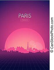 パリ, ポスター, 旅行, vectors, スカイライン, レトロ, イラスト, 未来派