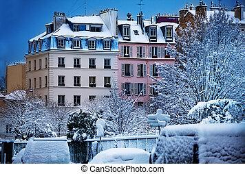 パリ, 冬, 通り, 雪で覆われている, フランス