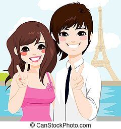 パリ, 恋人, 新婚旅行, アジア人
