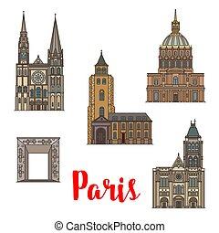 パリ, 旅行, ランドマーク, アイコン, の, フランス語, 建築
