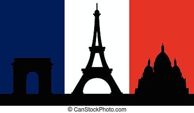 パリ, 旗, デザイン, フランス語