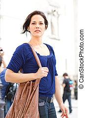 パリ, 歩くこと, 女, 若い