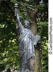 パリ, -, 自由, gardens., ルクセンブルク, 像, モデル