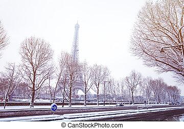 パリ, 通り, タワー, エッフェル, 雪で覆われている