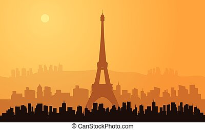 パリ, 都市, シルエット